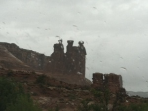 Courthouse Rock in the rain