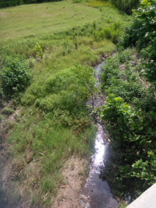 Peach Creek when it hasn't rained for several days. (It's about two feet wide.)