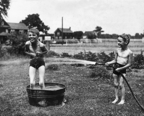 boys with water hose